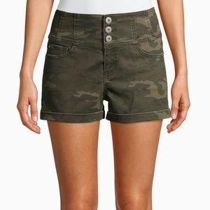 Pants - High-rise Corset Shorts Junior's Women's  Camo